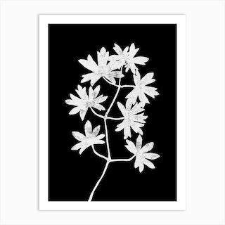 White Blockprint Leaves Art Print