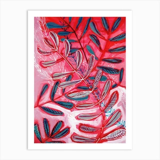Pink And Red Botanical Print Two Art Print