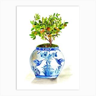 Orange Tree In Blue And White Porcelain Art Print