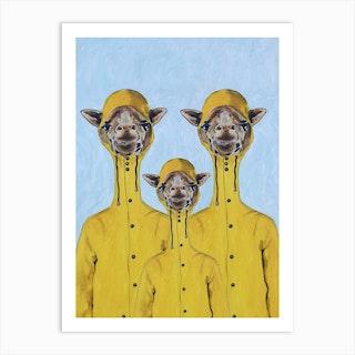 Giraffes Raincoat Familly Art Print
