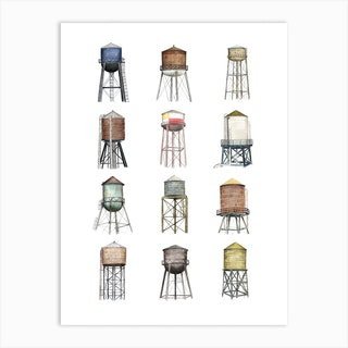 New York Water Towers Art Print