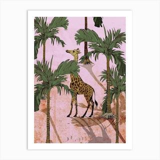 Giraffe In The Trees Art Print