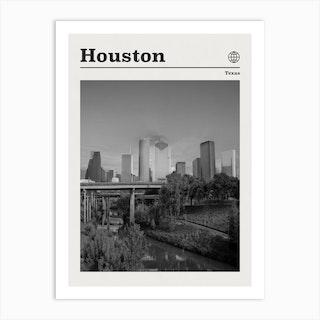 Houston Texas Black And White Art Print