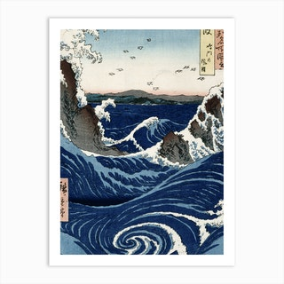 Awa Province: Stormy Sea At The Naruto Rapids, 1853 by Ando or Utagawa Hiroshige Art Print