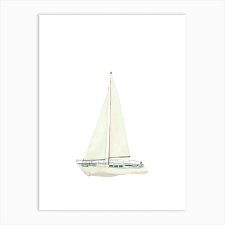Sailing Ship Weiß Art Print