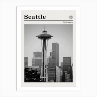 Seattle Space Needle Black And White Art Print