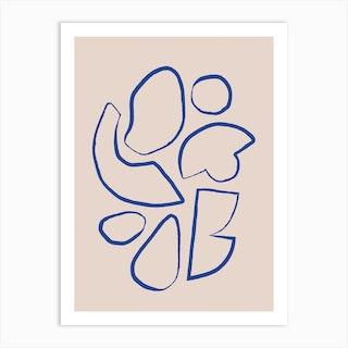 Line Shapes On Beige 1 Art Print