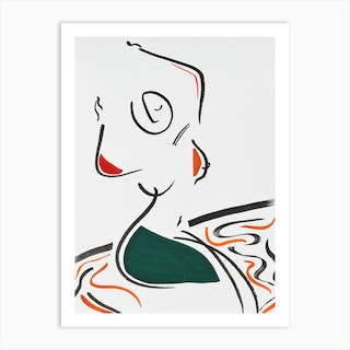 Nude In Red Green And Orange Art Print