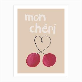 Mon Cheri White Text Art Print