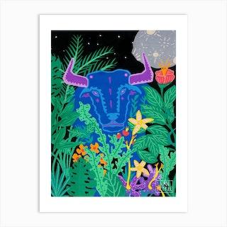 Blue Bull Art Print