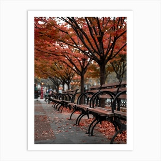 Fall Bench New York Art Print