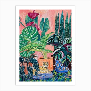 Indoor Tropical Plant Jungle With Cheetah Art Print