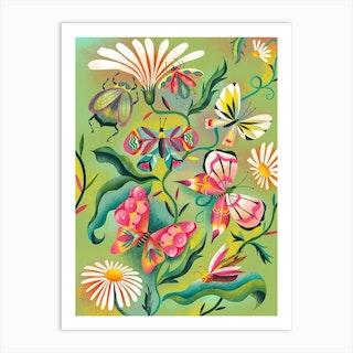 Birds Butterflies And Blooms Art Print