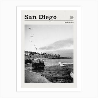 San Diego Cliffs California Black And White Art Print
