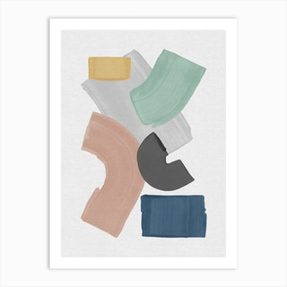 Pastel Paint Blocks Art Print