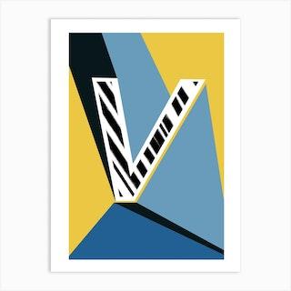 V Geometric Font Art Print