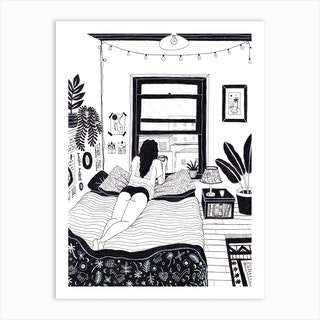 She Likes To Watch People On The Street Below With Her Morning Coffee Art Print