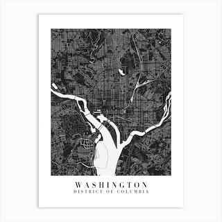 Washington Dc Minimal Black Mono Street Map  Art Print