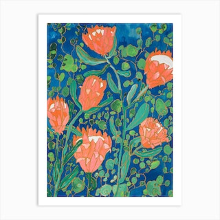 Coral Proteas Painted On Blue Art Print