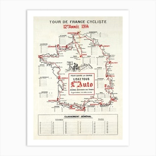 1914 Tour De France Map Art Print