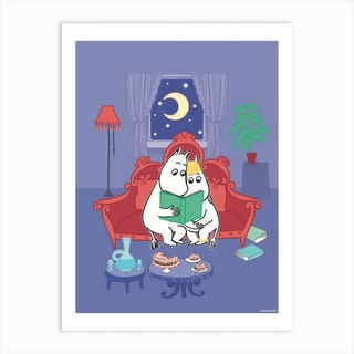 The Moomin Collection Moominpapa And Snorkmaiden Art Print