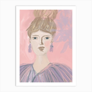 Lady With Feathers Art Print