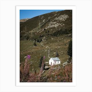 Chapel In De Mountains In Switzerland Art Print