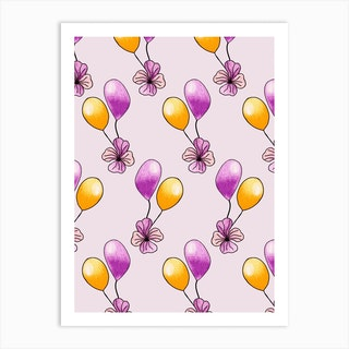 Purple And Yellow Balloons Art Print