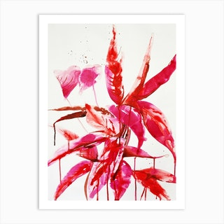 Red And Pink Leaves Art Print