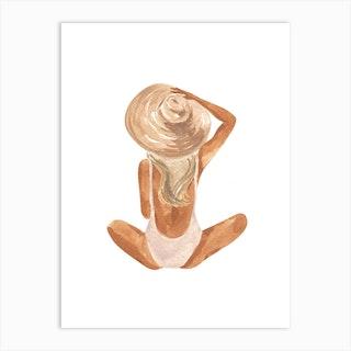 Beach Girl Blonde Art Print