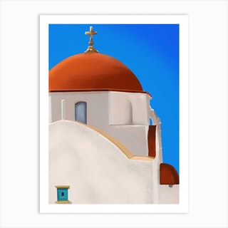 The Red Dome Chruch In Mykonos Santorini Art Print
