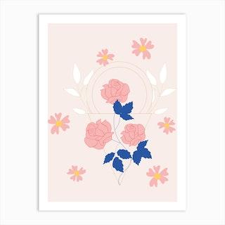 Pink Flowers And Geometrics Art Print