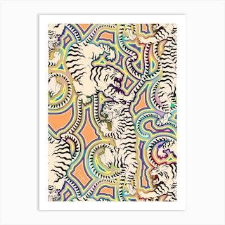 White Tigers Indian Carpet Art Print