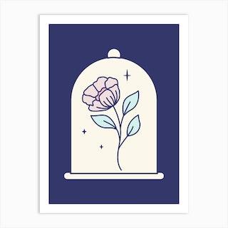 Flower Under Glass Cover Art Print