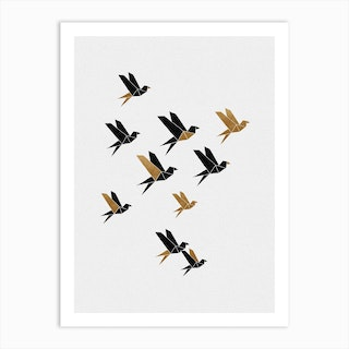 Origami Birds Collage Ii Art Print