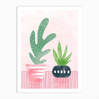 Cacti With Pink Art Print