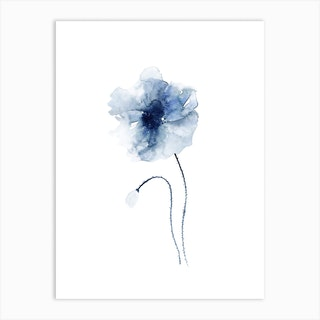 Blue Abstract Poppies 2 Art Print