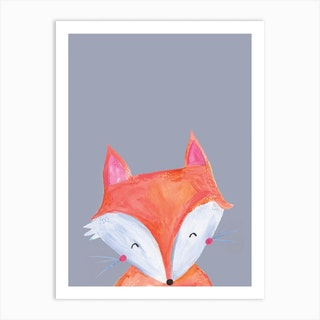 Woodland Fox On Grey Art Print