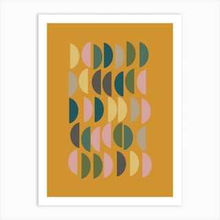 Half Circles In Mustard Art Print