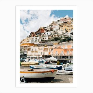 Boats In Positano Art Print