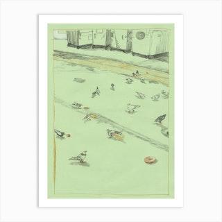 Pigeons In Walgreens' Back Alley Art Print