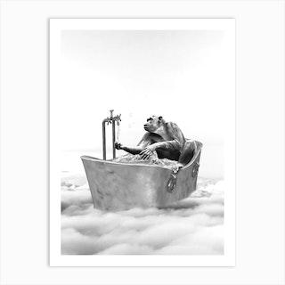 Chimpanzee Bath Art Print