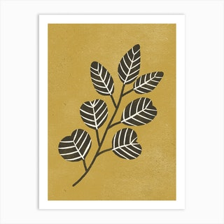 Eucalyptus Branch Ochre Art Print