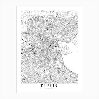 Dublin White Map Art Print