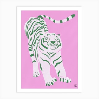 Tiger Doesnt Lose Sleep Pink And Green Art Print