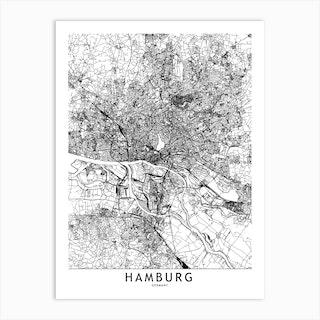 Hamburg White Map Art Print