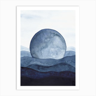 Blue Moon Landscape Art Print