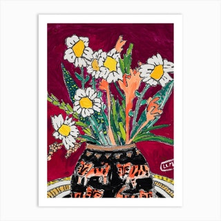 Daisy Bouquet On Wine Red With Tiger Vase Art Print