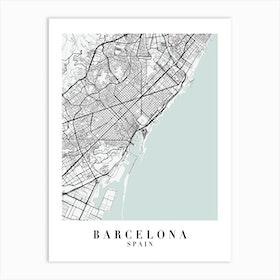 Barcelona Spain Street Map Color Minimal Art Print