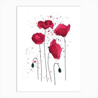 Poppies Watercolour Art Print